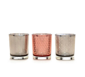 Votive Holders, Pink and Gray Mercury Glass (Set of 3)