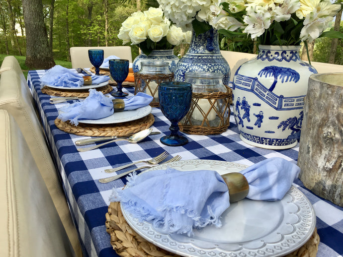You Blue Me Away Tablescape Kit w/o Vases | Table Terrain spring tablescapes, outdoor party tablescapes, vintage style tablescape, blue table decorations