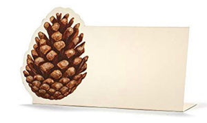 Pinecone Place-cards | Table Terrain January tablescapes, men's table decorations, kitchen table arrangements