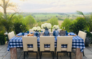 "Blue gingham cotton tablecloth 60""X120"" - Table Terrain"