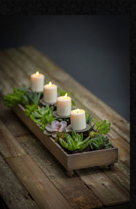 Weathered Candle and Centerpiece Planter | Table Terrain January tablescapes, men's table decorations, kitchen table arrangements