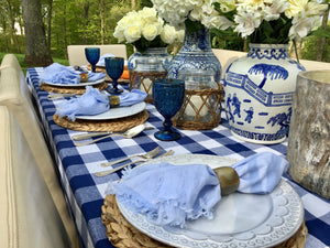 You Blue Me Away Tablescape Kit w/ Vases | Table Terrain blue gingham tablescape, brunch table decorations, picnic tablescape kit
