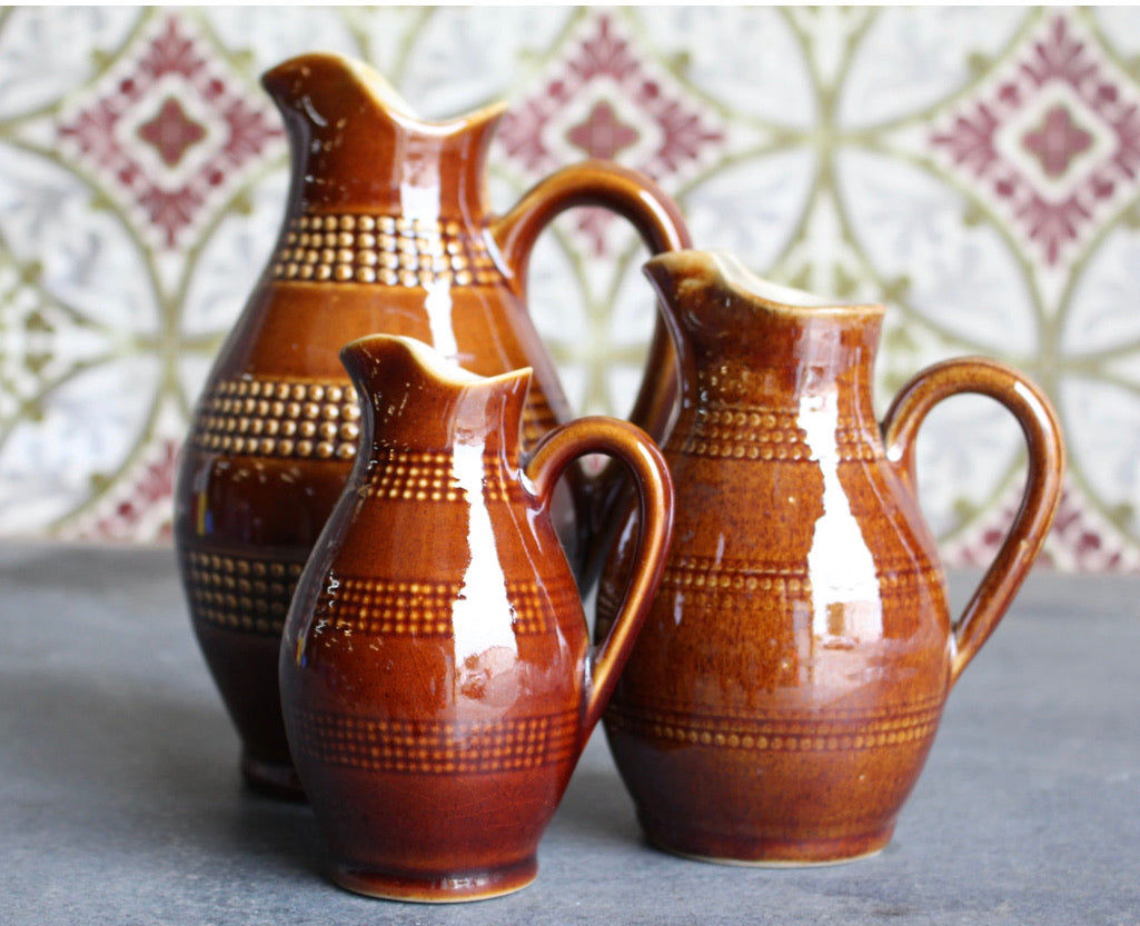 Pitchers, Brown Pottery (Set of 3)