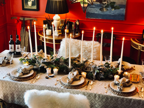 Winter Woodland Tablescape Kit Standard Edition w/Ecru Napkins | Table Terrain Christmas party table decorations, elegant winter table centerpieces, table candelabra centerpieces