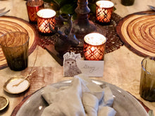 Owl Place-cards | Table Terrain winter table centerpieces, simple candle centerpieces, inexpensive table centerpieces