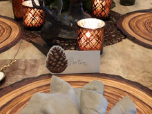 Pinecone Place-cards | Table Terrain winter table centerpieces, simple candle centerpieces, inexpensive table centerpieces