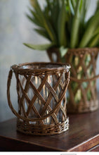Wicker Vase with Glass & Handle