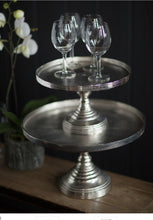 "Cake stand, Nickel Finish 16"" tall"