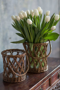 Vase, Wicker with Glass & Handle
