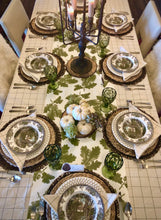 Tablecloth, Cream and Green 100% cotton