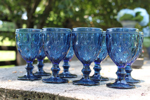 "Blue ""Chain"" design Goblets (Set of 8) 