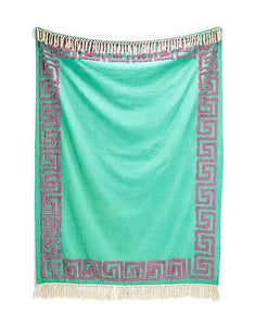 Table Topper, Turquoise Greek Key