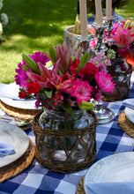 Wicker Basket Vase or Hurricane | Table Terrain January tablescapes, men's table decorations, kitchen table arrangements