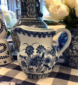Blue and white hand painted pitcher
