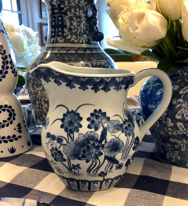 Blue and white hand painted Pitcher | Table Terrain January tablescapes, men's table decorations, kitchen table arrangements