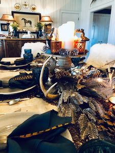 Winter Woodland Tablescape Kit Glam Edition w/ Indigo Napkins | Table Terrain Christmas party table decorations, elegant winter table centerpieces, table candelabra centerpieces
