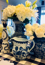 Blue and white hand painted Pitcher | Table Terrain winter table centerpieces, simple candle centerpieces, inexpensive table centerpieces