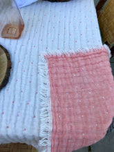 Table Topper- Reversible Pink and Cream