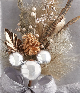 Mixed spray w/greens, feathers, pinecones and balls | Table Terrain build your own tablescape, custom tablescapes, modern table centerpieces, elegant table centerpieces