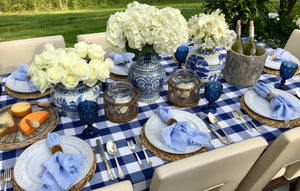 You Blue Me Away Tablescape Kit w/ Vases | Table Terrain spring tablescapes, outdoor party tablescapes, vintage style tablescape, blue table decorations