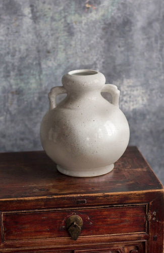 Antiqued White Sand Glaze Rustic Vase-Two Handled
