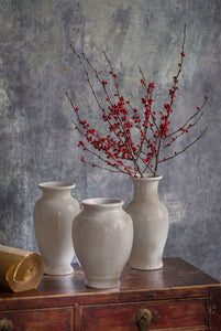 Antiqued White Sand Glaze Rustic Vase-Victory design | Table Terrain January tablescapes, men's table decorations, kitchen table arrangements