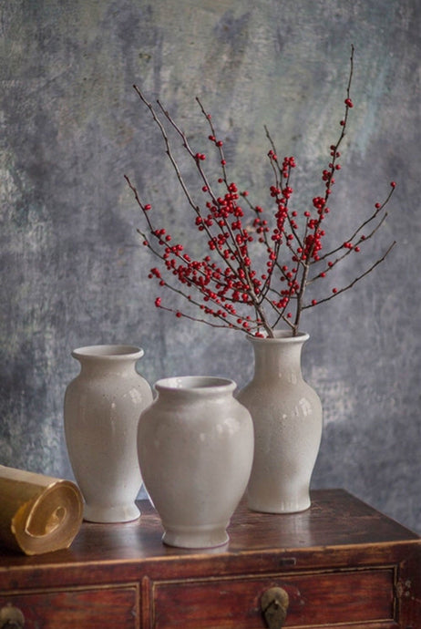 Antiqued White Sand Glaze Rustic Vase-Oil design