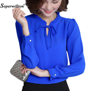 2017 New Spring Autumn Shirts Women Blusa Chiffon Blouse Long Sleeve Ruffle Collar Fashion Tops Women's Clothing Plus Size XXXL