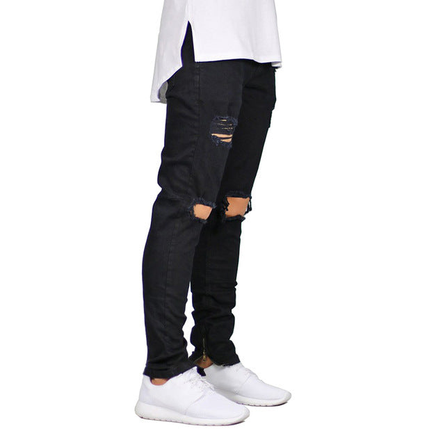 Men Jeans Stretch Destroyed Ripped Design Fashion Ankle Zipper Skinny Jeans For Men E5020