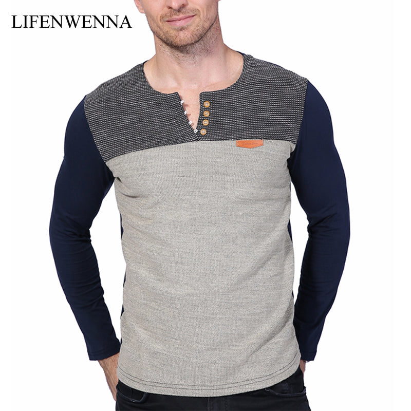 Hot Sale 2017 New Fashion Brand O-Neck Slim Fit Long Sleeve T Shirt Men Trend Casual Mens T-Shirt Patchwork Tee Shirts 4XL 5XL
