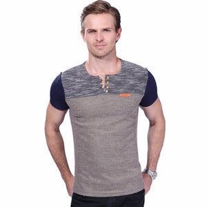 2017 Summer Fashion Men's T Shirt Casual Patchwork Short Sleeve T Shirt Mens Clothing Trend Casual Slim Fit Hip-Hop Top Tees 5XL