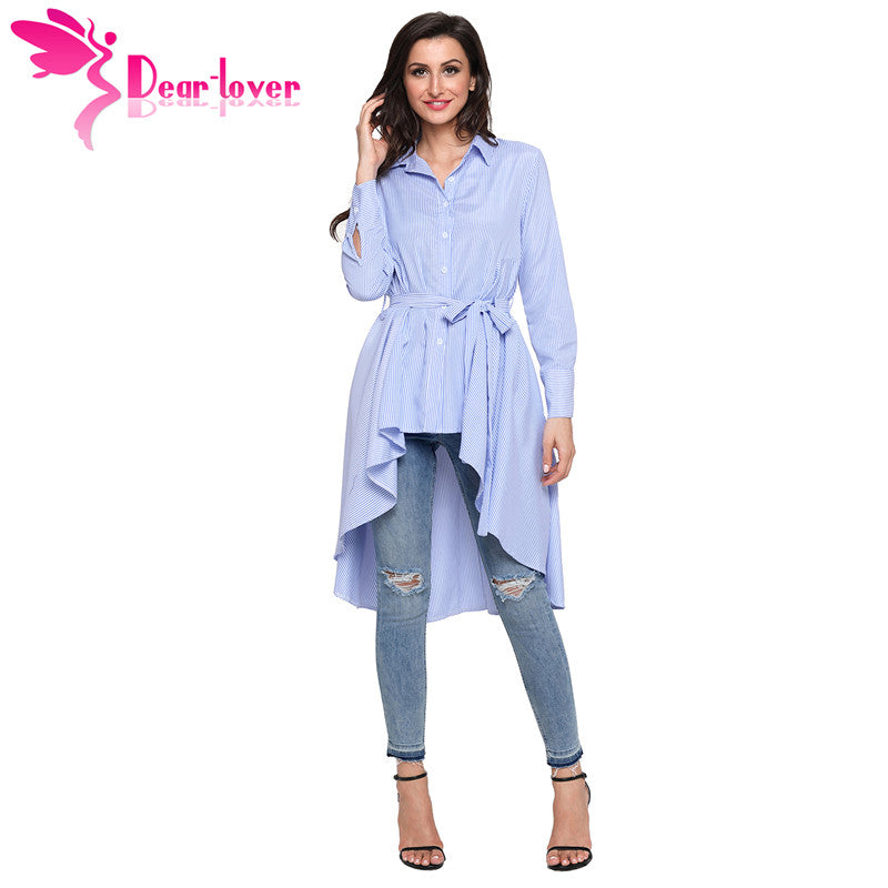 Dear Lover Stripe Blouse Shirt Women New Fashion Blusas Office Ladies Autumn Long Sleeve Lapel High Low Belted Tunic Top C250364