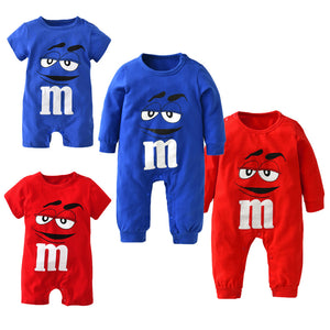2018 New fashion baby boys girls clothes newborn blue and red Long sleeve Cartoon printing Jumpsuit Infant clothing set