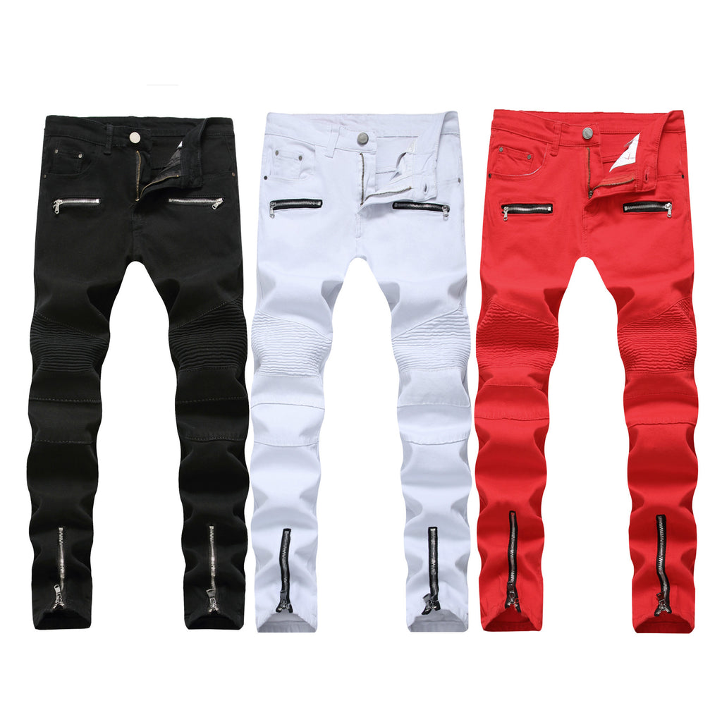 2018 Men's Jeans Europe and The United States Summer Fashion Locomotive Jeans teens Straight Stitch Male Cowboy Trousers 28-42