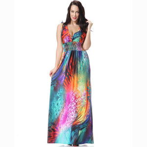 2018 Newest Spring Colorful Deep V-Neck Sleeveless High Elastic Waist Charming Loose Maxi Dress Printed Beautiful Beach Clothes