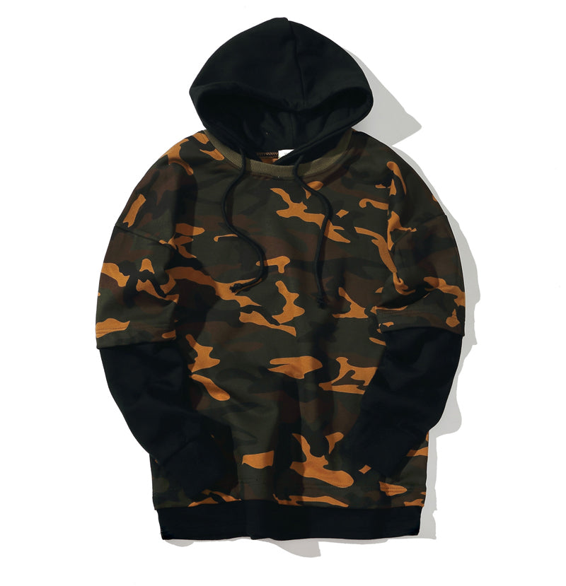 Brand 2018 Hoodie Fake Two Pieces Of Camouflage Hoodies Men Fashion Tracksuit Male Sweatshirt  Hoody Mens Purpose Tour