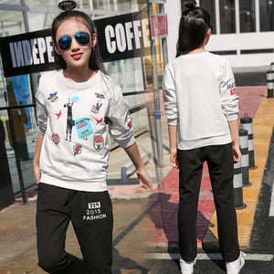 Teen Girls Clothing sets Knitwear Sweatshirt + Pants 2 pieces Children Clothing Set Kids Clothes Tracksuit 10 12 14 15 16 years