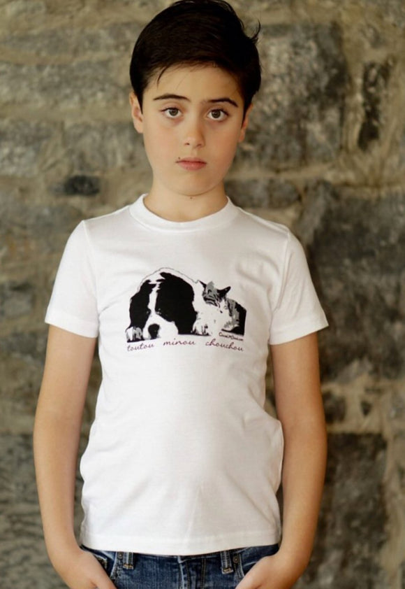 Dog And Cat Boys White T-shirt