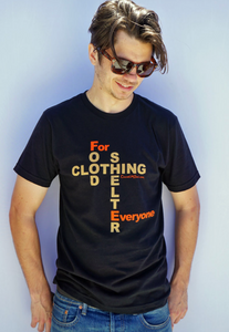 Food Shelter Men Black T-shirt