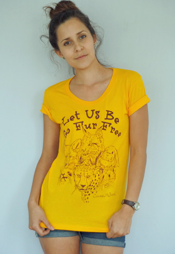 PETA Women Gold T-shirt