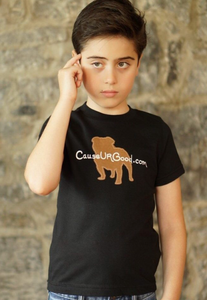 Dog Shape Boys Black T-shirt