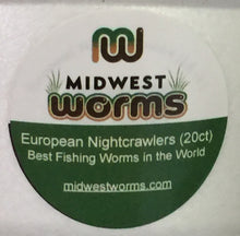 Bait Worms (Cupped) - European Nightcrawlers - (12 Bait Cups) - Midwest Worms