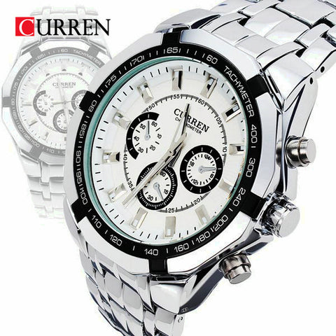 Men's Full stainless steel Military Casual Sport Watch waterproof - Wizard Watches