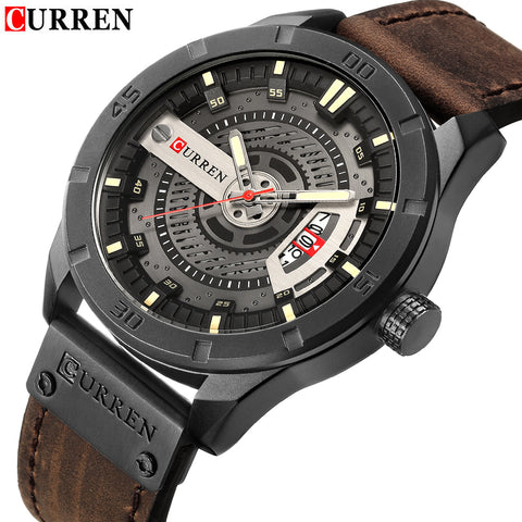 Men Military Sports Watches Men's Quartz Date Clock Man Casual Leather Wrist Watches - Wizard Watches