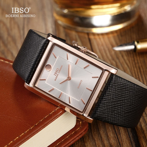 Mens Wrist Watch Luxury Quartz Watch Creative Rectangle Dial Business Men Leather Watches - Wizard Watches