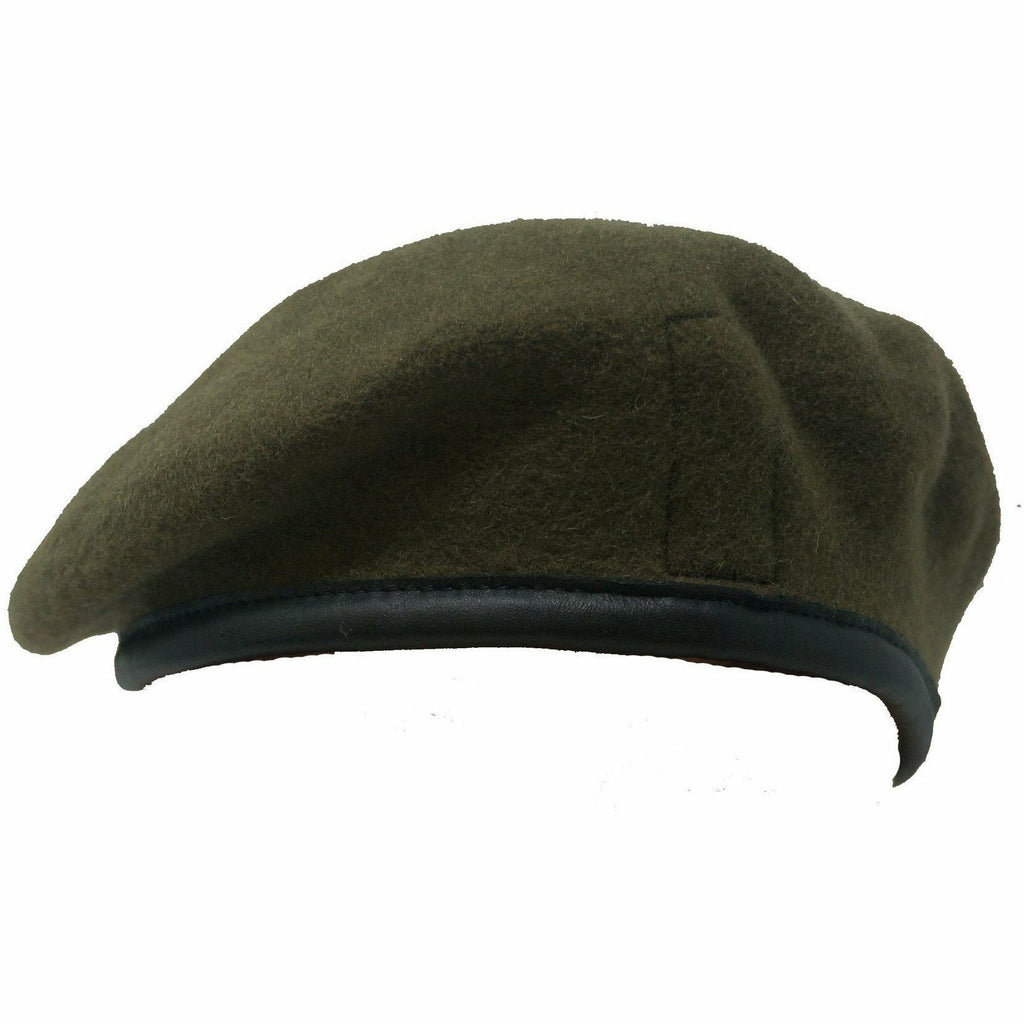 Beret Khaki - Blue Silk Lined