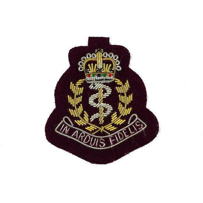 Ammo & Co Beret Badge - RAMC Officers - Bullion Wire on Maroon