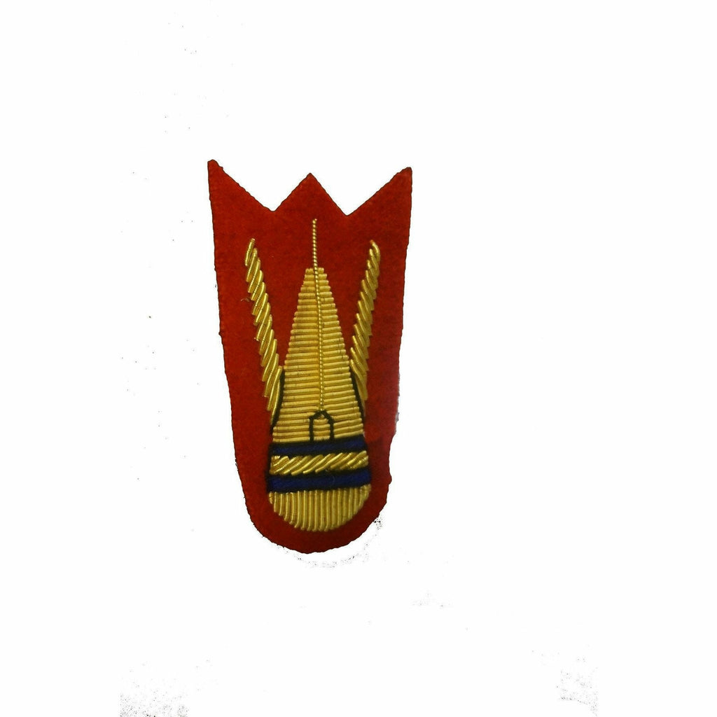 Mess Dress- Qualification Badge - EOD Bomb - Gold on Scarlet Ground