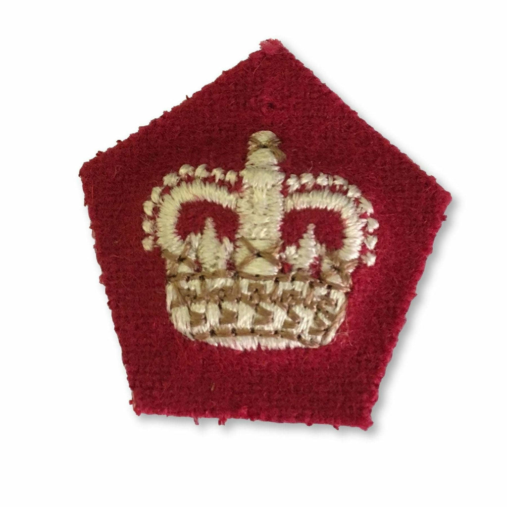 Ammo & Company Crown - 32mm- Scarlet Ground -White & Beige Embroidery - RRS
