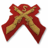 Ammo & Company Mess Dress- Qualification Badge - Sniper (X Rifles & S) - Gold on Scarlet Ground
